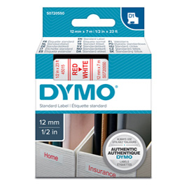 NASTRO DYMO TIPO D1 (12MMX7M) ROSSO/BIANCO 450150