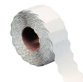 Rotolo 1500 etichette 26x12mm bianche permanenti a onda Markin (Conf. 16)