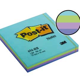Blocco post-it 654-rb aquatic 100fg 76x76mm 72gr assortito