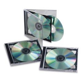 SCATOLA 5 CUSTODIE CD/DVD DOPPIO BASE NERA FELLOWES
