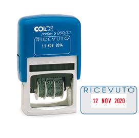 Timbro S260/L1 DATARIO + RICEVUTO 4mm autoinchiostrante COLOP