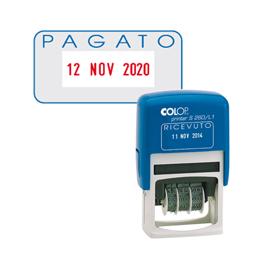 Timbro S260/L2 DATARIO + PAGATO 4mm autoinchiostrante COLOP