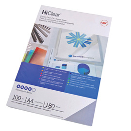 Scatola 100 copertine Hi-Clear 180micron A4 neutro trasparente GBC