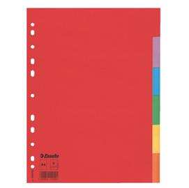 Separatore economy in cartoncino 160gr colorato 6 tasti A4 ESSELTE