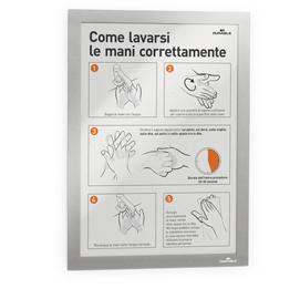 Cornice espositiva adesiva Duraframe® A5 15x21cm silver DURABLE