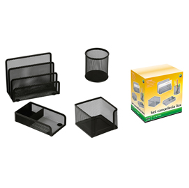 Set scrivania 4 accessori in rete metallica nero 1424 LEBEZ