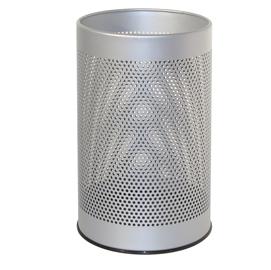 Cestino tondo 15lt grigio in metallo forato