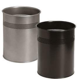 Cestino tondo 15lt grigio in metallo con decoro twinco