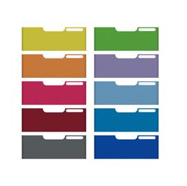 Set 10 frontalini colorati per cassetti 5,4cm modulo a4 multiform