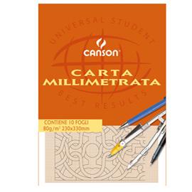 BLOCCO CARTA OPACA MILLIMETRATA 230x330mm 10FG 80GR CANSON (Conf. 25)
