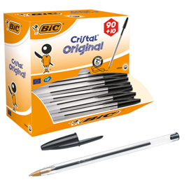 Dispenser value pack 90+10 penna sfera CRISTAL® medio 1,0mm nero BIC®