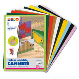 SET 10FG CARTONCINO ONDULATO 25X35CM CANNETE' colori assortiti CWR