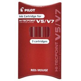 SET 3 REFILL ROLLER HI-TECPOINT V5-V7 RICARICABILE ROSSO BEGREEN PILOT
