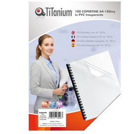 100 COPERTINE A4 PVC TRASPARENTE 180my TiTanium
