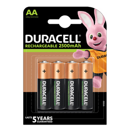 Blister 4 pile ricaricabili aa - stilo 2500mah duracell precharged