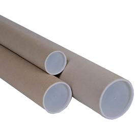 TUBO IN CARTONE AVANA doppio tappo trasparente 50cm Ø6cm (Conf. 20)