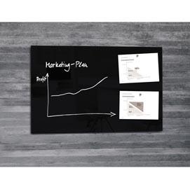 LAVAGNA MAGNETICA in VETRO 65x100cm NERO artverum® Sigel