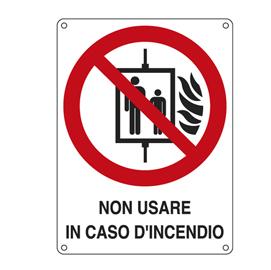 CARTELLO ALLUMINIO 11,5x16cm 'NON USARE IN CASO DI INCENDIO'