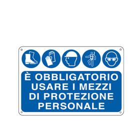 CARTELLO ALLUMINIO 30x20cm 'E' OBBLIGATORIO USARE I MEZZI DI PROTEZ. INDIVID.'