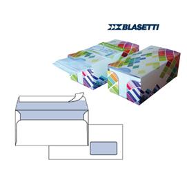 BOX DISPENSER 150 BUSTE BIANCHE 110X230MM 90GR C/FINESTRA con STRIP BLASETTI