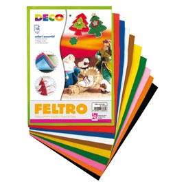 Feltro colorato 21x30cm colori assortiti Conf.10 fogli CWR