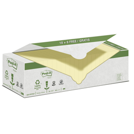 VALUE PACK 24 BLOCCO 100fg Post-it® CARTA RICICLATA GIALLO 76X76MM 654-RYP24