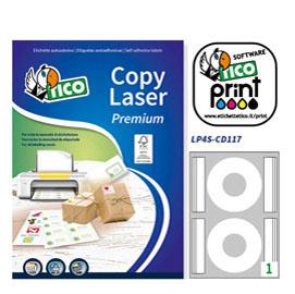 Etichetta adesiva LP4S bianca coprente A4 25fg CD Ø117mm (2et/fg) laser Tico