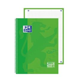 Quaderno spiralato Neon 1 f.to A4+ 90gr verde neon OXFORD (Conf. 5)