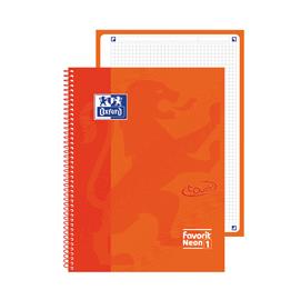 Quaderno spiralato Neon 1 f.to A4+ 90gr arancione neon OXFORD (Conf. 5)