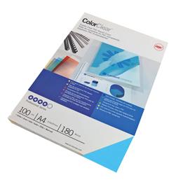 Scatola 100 copertine ColorClear PVC A4 - 180mic - Blu - GBC