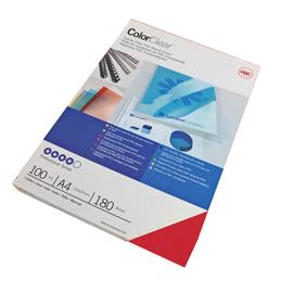 Scatola 100 copertine ColorClear PVC A4 - 180mic - Rosso - GBC