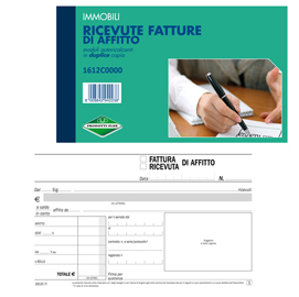 Blocco ricevute/fatture affitto 50/50copie autor. 10x16,8cm 1612C0000 FLEX (Conf. 20)
