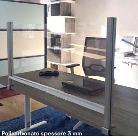 Schermo protettivo da scrivania H60xL102cm con morsetto alluminio silver
