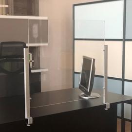 Schermo protettivo da scrivania Slim H65xL107cm con morsetto alluminio silver