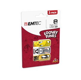 CONF DA 3 PZ MEMORIA USB2.0 8GB LT01 TITTY-BUGS BUNNY-DAFFY DUCK