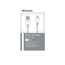 Verbatim Cavo MICRO B USB SYNC  CHARGE 100CM SILVER